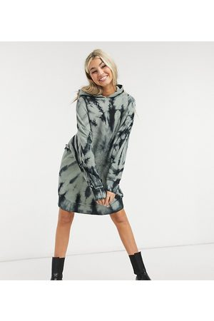 COLLUSION Tie dye hoodie dress with contrast logo-Multi