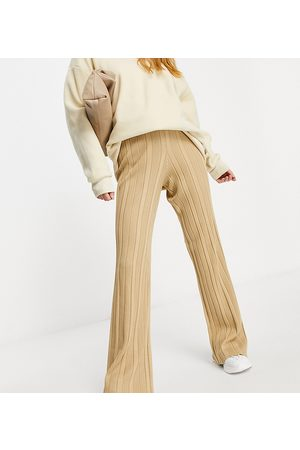 4th & Reckless Tall knitted wide leg trouser in camel-Brown