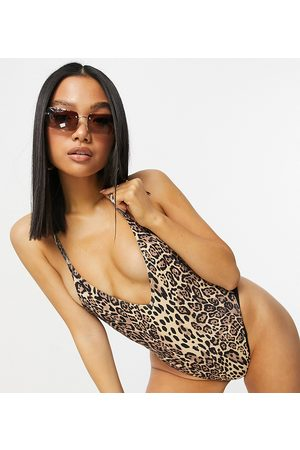 ASOS Petite ribbed loop strappy back swimsuit in leopard print-Multi