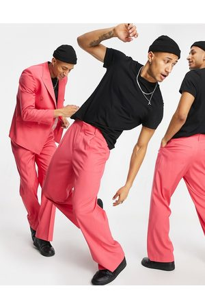 ASOS Wide leg suit trousers in pink