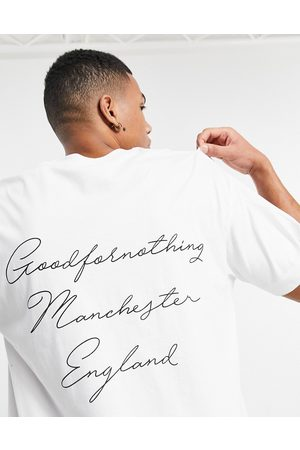 Good For Nothing T-shirt with manchester script back print in white