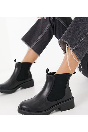 London Rebel Wide Fit chelsea ankle boots-Black