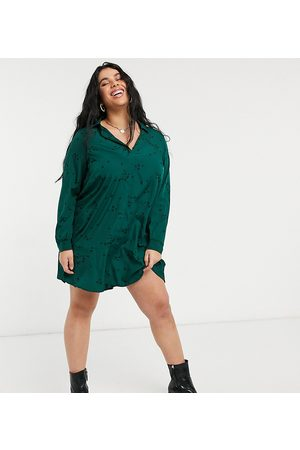 Simply Be Shirt dress with button front detail in green