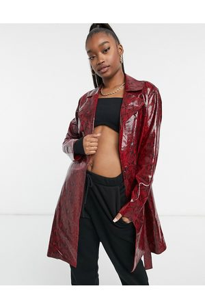 BLANK NYC Longline king cobra leather look jacket-Red