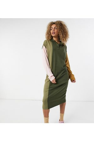 COLLUSION Maxi knitted rugby dress-Multi