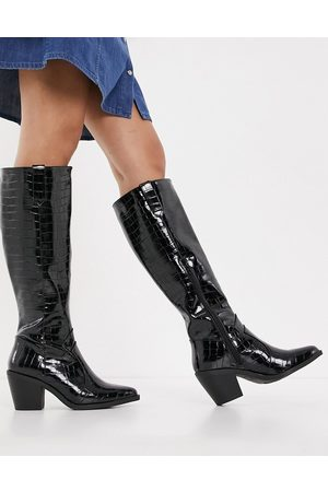 Glamorous Knee high western boots in black