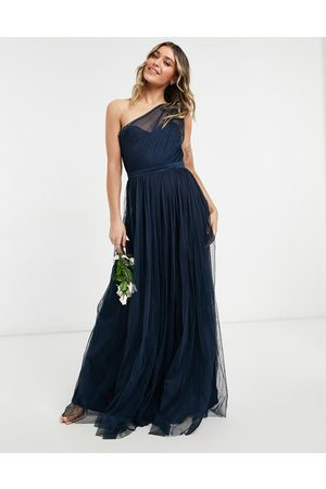 ANAYA With Love Bridesmaid tulle one shoulder maxi dress in navy