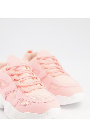 Truffle Collection Wide fit chunky trainers in sand-Stone