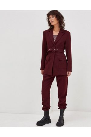 4th & Reckless Tailored jogger in burgundy