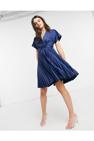 Closet Wrap front pleated midi skater dress in navy