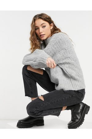 Urban Bliss Balloon sleeve cable knit jumper in grey