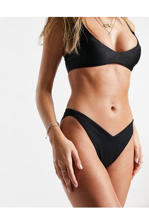 ASOS Recycled mix and match V front high leg hipster bikini bottom in black
