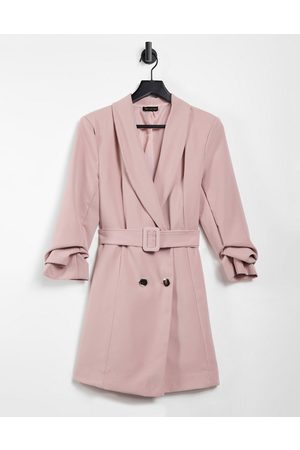 I saw it first Double button belted blazer dress in pink