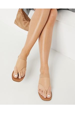 ASOS Folly leather toe thong sandals in beige