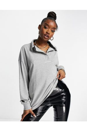 Public Desire Oversized polo shirt with slogan front in marl grey