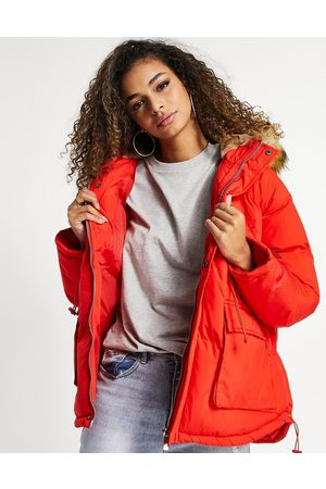 The Couture Club Hooded coat with faux fur trim in red