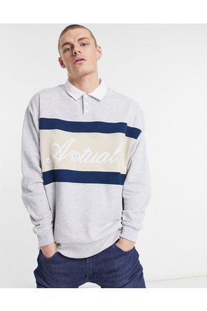 ASOS Oversized rugby sweatshirt with embroidered logo in grey marl