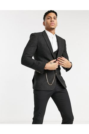 ASOS Skinny wool mix suit jacket in brown herringbone with chain detail