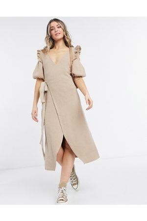 Never Fully Dressed Ruffle cold shoulder wrap tie knitted midi dress in camel-Brown
