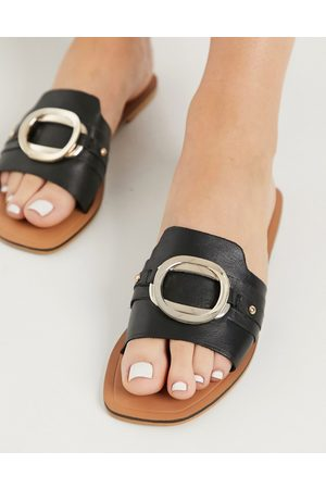 ASOS Formal leather sandals with trim in black