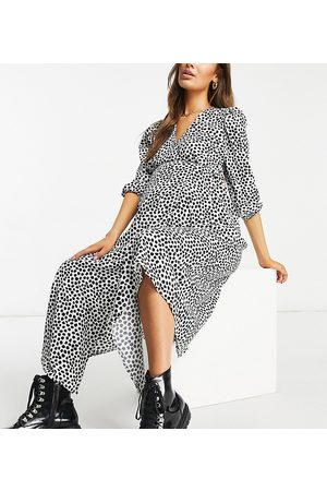 Queen Bee Maternity V neck maxi dress in black spotted print-White