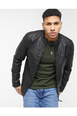 Only & Sons Faux leather biker jacket in black