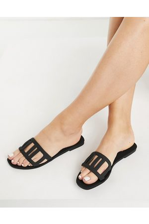 ASOS Fortuna woven jelly mules in black