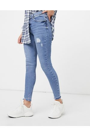 River Island Amelie distressed skinny jeans in light auth blue