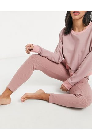 Peek & Beau Lounge rib leggings in pink