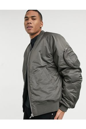 ASOS Oversized bomber jacket with rouche detail in grey