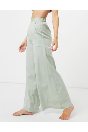 Esmée Esmee Exclusive high waist beach trouser with wide leg in khaki-Green