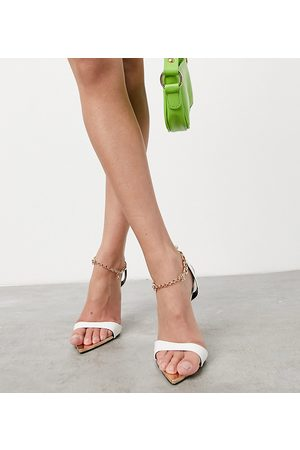 Public Desire Triumph heeled sandals with padlock detail in white