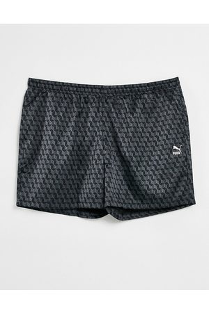 PUMA Summer luxe 6inch satin aop shorts in black