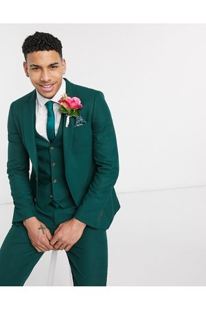 ASOS Wedding skinny suit jacket in forest green