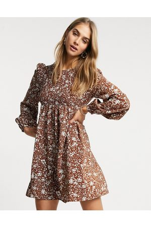 Fashion Union Mini smock dress with shirring in vintage floral-Brown