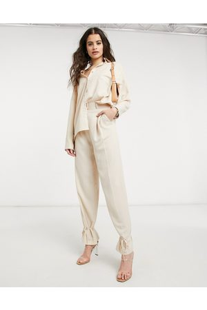 Style Cheat Cuffed tailored trouser co-ord in cream