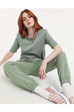 Only T-shirt with padded shoulders in green