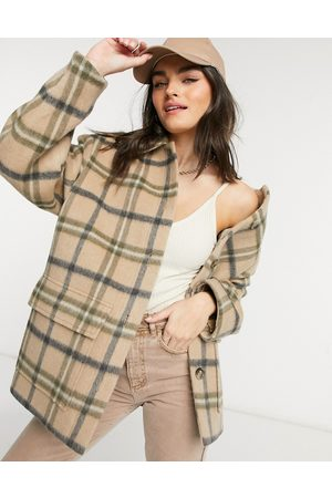 & OTHER STORIES Wool oversize check shacket in beige