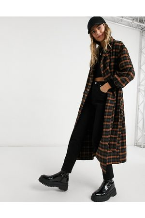 VIOLET ROMANCE Check belted trench coat-Multi