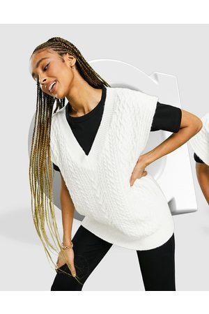 ASOS Knitted cable tank in cream