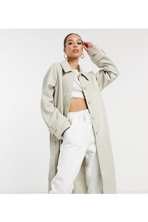 ASOS Tall collared faux leather trench coat in putty-Cream