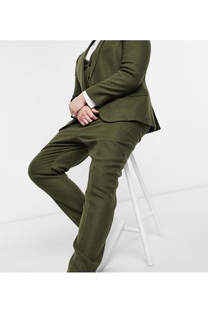 ASOS Plus skinny wool mix suit trousers in khaki twill-Green