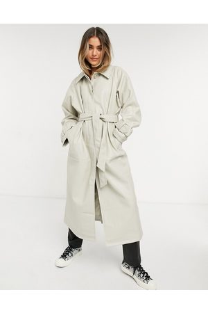 ASOS Collared faux leather trench coat in putty-Cream
