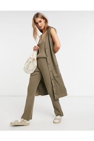Vila Knitted longline waistcoat co-ord in taupe-Grey