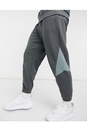 ASOS Co-ord oversized joggers with rib insert panels in washed black-Grey