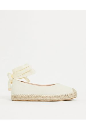 Glamorous Ankle tie espadrilles in natural-Beige