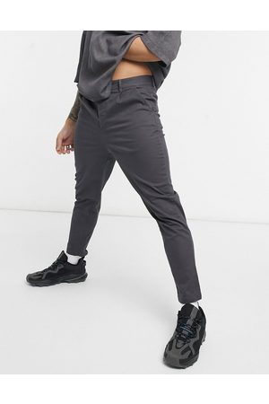 ASOS High waisted cigarette chino trousers in charcoal-Grey