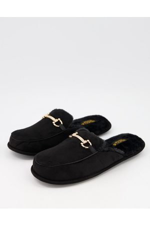 Truffle Collection Snaffle trim mule slippers in black