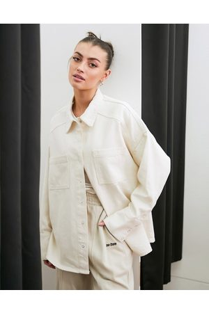 French Connection Denim shacket co-ord in cream