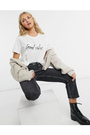 ASOS DESIGN T-shirt with good vibes motif in white
